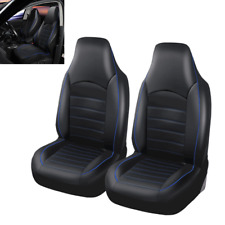 Black+Blue Car Front Bucket Seat Covers Set Auto Dust Protector 2 Pack Universal