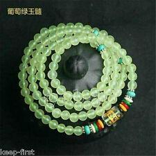6mm Tibet Buddhist Natural green 108 jade Prayer Beads Mala Bracelet Necklace