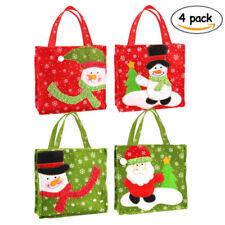 4pcs Christmas Candy Handbag Santa Claus Snowman Printing Gift Bags 6.3*6.3inch