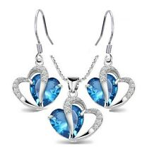Sterling Silver Heart Blue Topaz Gemstone Pendant Necklace Drop Earrings Set Box