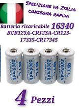 4 BATTERIE PILA CR123A 16340 17335 RICARICABILE ORIGINALE GTL 3.7V 2800mAh