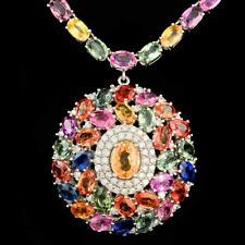 Certified 57.50cttw Mix Sapphire 1.45cttw Diamond 14KT White Gold Necklace