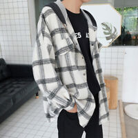 Mens Flannel Long Sleeve Check Shirt Hooded Oversized Casual Jacket Hoodie Hoody