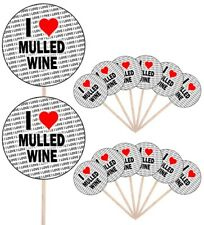 I Love Mulled Wine Party Food Cup Cake Picks Sticks Flags Decorations Toppers
