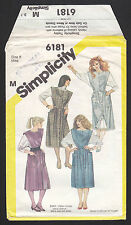 Vintage 6181 Simplicity Misses' Button-up Jumper and Blouse Pattern Size 8 1984