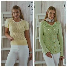 KNITTING PATTERN Ladies Puff Sleeve Lacy Top & Military Jacket DK King Cole 4529