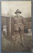 Antique c1900 B/W Photograph. British Soldier. Boer War? Back Garden/ Dog Kennel