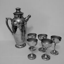 Vintage Silver Chromium Plated Martini Cocktail Pitcher & 5 Cup Set MCM Art Deco