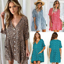 Womens Holiday Loose Button Pocket Ladies Summer Beach Mini Swing Sun Dress Tops