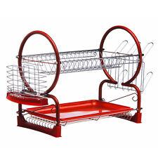 Kawachi Stainless Steel Chrome 2 Tier Dish Drainer Rack Glass Utensil- K159 Red