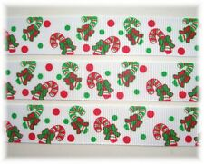 "7/8"" CHRISTMAS RED GREEN PEPPERMINT CANDY CANE GROSGRAIN RIBBON 4 HAIRBOW BOW"