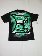 TAPOUT MPS BLACK SHORT SLEEVE MEN'S LARGE TEE T SHIRT LIGHTNING NEON GREEN