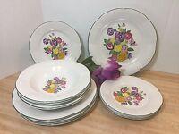 Century Stoneware Georgia Scalloped Dinner Salad Plates Bowls 10pcs Pansies (A4)