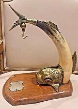 Vintage English dolphin designed brass and animal horn desk ornament.