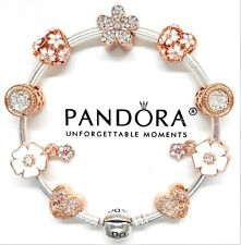 Authentic Pandora Silver Bracelet With Rose Gold Flower & Heart European Charms.