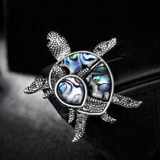 Fashion Natural Shell Alloy Turtle Animal Brooch Lapel Scarf Pin Women Gift