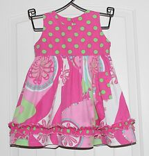Girls Boutique Corky's Kids Pink & Lime Green Boutique Cotton Summer Dress sz 2T