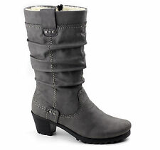 Winter Stiefel Rieker Gefüttert Schurwolle Damen Schuhe 36 bis 42 Grau Y808042