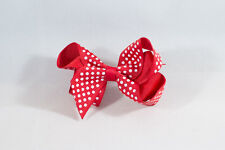 Unit of 10 Medium 3 Inch Red with Small White spots Hair Bow clip Grosgrain