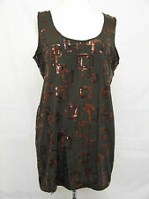 PLUS SIZE BROWN SLEEVELESS TOP SQUARE SEQUIN TRIM