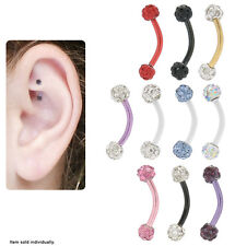 Titanium Curved Rook Earring with Cz Jewels