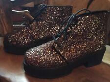 ASOS Bronze Glitter Ankle Platform Boots 8 New