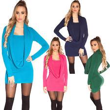 Damen Strick Minikleid Strickkleid Strickpulli 2in1 Wasserfall Long Pullover S