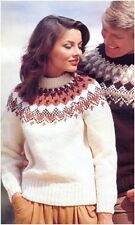 His and her Chunky Nordic Fair Isle Yoke Sweaters Vintage Knitting Pattern