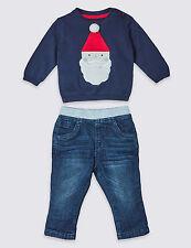Bebé Primero Conjunto Navidad Jersey de Niño Pantalones Denim 2 Piezas Santa M&S