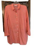 J Jill  Love Linen Orange Linen Button Down Shirt Tunic Top Size M