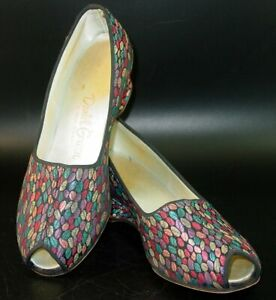 Daniel Green Embroidery Slippers 5 B Multi Color Peep Toe Wedge Boudoir Hostess