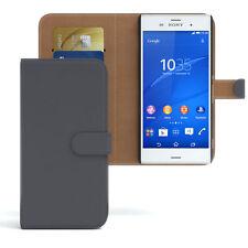 Tasche für Sony Xperia Z3 Flip Case Schutz Hülle Cover Anthrazit