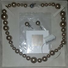 BNWT Misaki Monaco Bronze Pearl Necklace and Earring Set