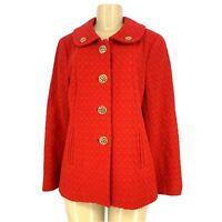 ETCETERA Women Button Down Textures Wool Blend Blazer Jacket Sz 8 Red/Gold #10