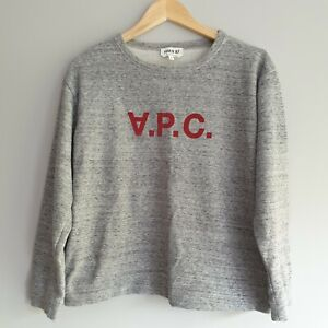 APC Hiver 87 Men Size M Grey Red Logo Crew Neck Sweatshirt Jumper Casual Branded