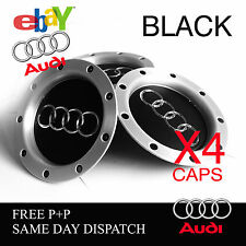 4 X BLACK AUDI RS ALLOY WHEEL CENTRE HUB CAPS TT A1 A2 A3 A4 A5 A6 A7 A8 Q UK!
