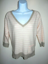 DIANA LEE 100% CASHMERE PINK/WHITE STRIPED WIDE V-NECK 3/4 SLEEVES SWEATER M/L