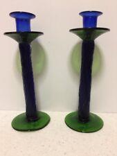PAIR HAND BLOWN ART GLASS CANDLESTICKS Cobalt Blue And Green Twisted Set Of 2