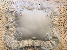 Vintage Handmade Ruffled Rectangular Pillow w/ lace & embroidery - Light BLUE