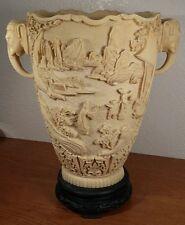 """Asian Ornate Carved Resin 12"""" Elephant Handled Vase On Black Pedestal"""