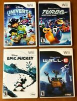 Lot of 4 Wii Games Disney Universe, Turbo, Epic Mickey, Wall E