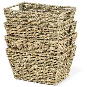 Multi-Purpose Nesting Seagrass Woven Storage Basket with Handles, Set of 4