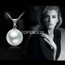 Women white Freshwater Pearl Fashion Pendant Necklace Silver Chain