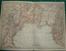 Lugano lake lago plan Suisse - Antique map karte 1909 carte