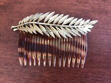 "Vintage 50s Tortoiseshell Hair Comb Gold-Tone Leaf 3.75x2"" Retro Good Condition"