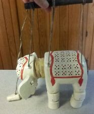 Vintage Elephant Marionette Puppet Carved Wooden Handpainted Jointed