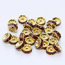 NEW 20pcs 8MM Plated gold crystal spacer beads Findings B&50 FREE SHIPPING