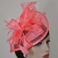 FASCINANTE Diadema Tocado Boda Elegante Sombrero adorno para Cabello Salmón Rosa