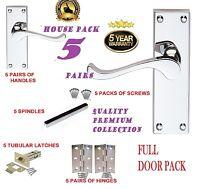 Full Door Pack X 5: MODERN Chrome  VICTORIAN  Silver Scroll Lever Door Handles D