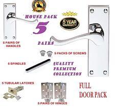 Door Handles Full Door Pack X 5 MODERN Chrome VICTORIAN Silver Scroll Lever